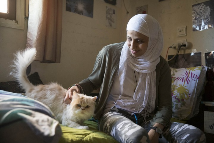 Palestinian poet Dareen Tatour seen in her home in the village of Reineh, northern Israel. (Oren Ziv)