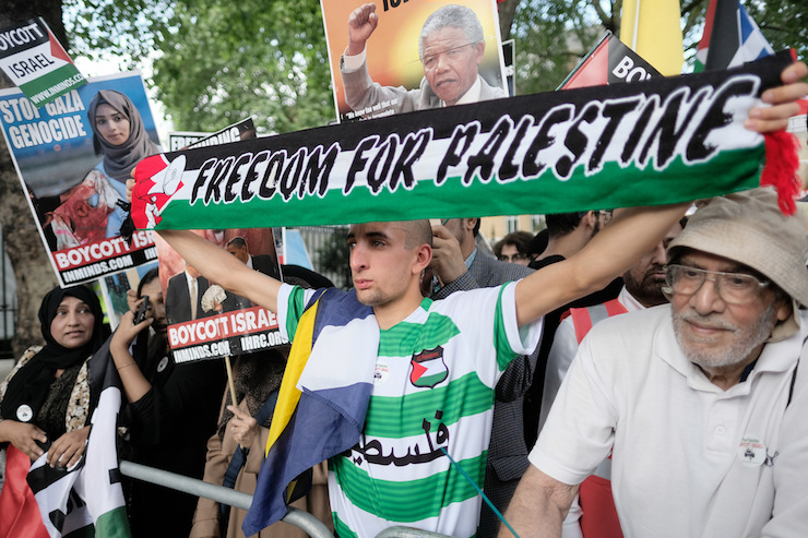 Illustrative photo of pro-Palestine protesters in London, June 10, 2018. (Alisdare Hickson/ CC BY-SA 2.0)