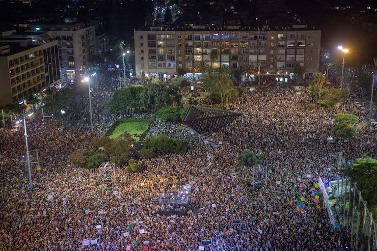 An estimated 80,000 LGBTQ Israelis and allies fill Tel Aviv's Rabin Square at a mass protest capping off a day of protests and strikes demanding an end to discrimination against the queer community in Israel, July 22, 2018. (Miriam Alster/Flash90)