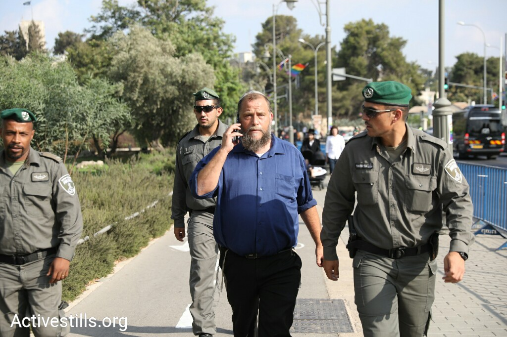 Far-right leader Benzi Gopstein seen outside the annual Jerusalem Pride March, August 2, 2018. (Oren Ziv/Activestills.org)