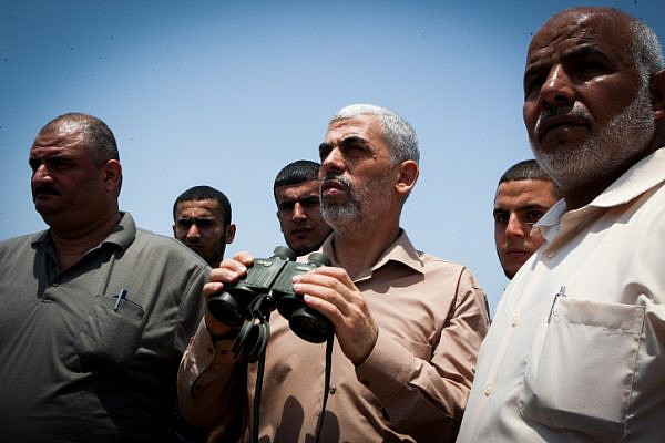 Yahya Sinwar, new leader of Hamas, inspects the border with Egypt from thr city of Rafah, July 6, 2017. (Abed Rahim Khatib/Flash90)
