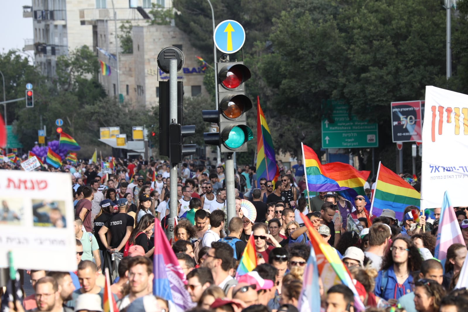 Over 20,000 participate in the largest Jerusalem Pride March yet, August 2, 2018. (Oren Ziv/Activestills.org)