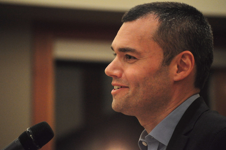 Peter Beinart speaking at the University of Washington Hillel, Seattle, Washington, October 23, 2014. (Joe Mabel/CC BY-SA 3.0)