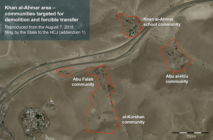 Map of the communities near Khan al-Ahmar marked for demolition and transfer. (B'Tselem)