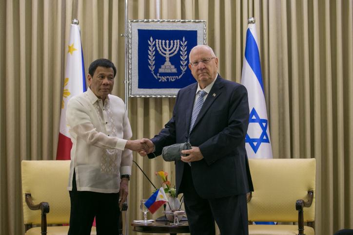 President of the Philippines Rodrigo Duterte meets with Israeli president Reuven Rivlin at the presidential residence in Jerusalem on September 4, 2018. (Ohad Zwigenberg/POOL)