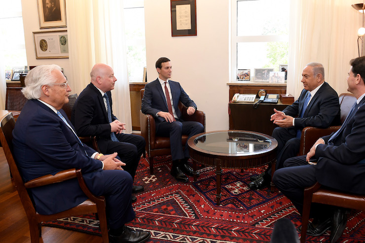 Senior Trump Advisor Jared Kushner, Special Representative for International Negotiations Jason Greenblatt, and U.S. Ambassador to Israel David Friedman meet with Prime Minister Benjamin Netanyahu at the Prime Minister's Office in Jerusalem, June 22, 2018. (Matty Stern/U.S. Embassy)