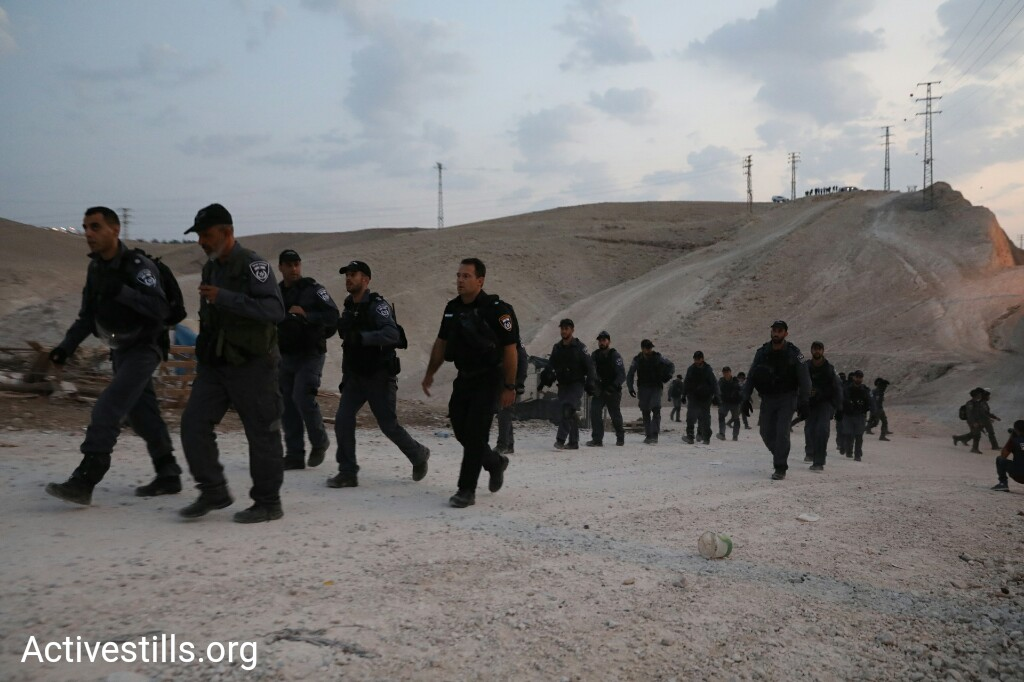 Israeli forces arrived early morning on September 13, 2018 to demolish the protest camp Wadi al-Ahmar, which was constructed by Palestinian activists. (Oren Ziv)