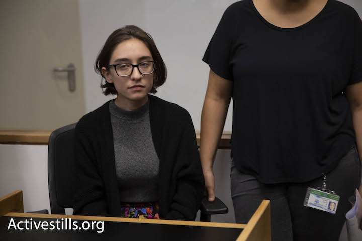 Lara Alqasem, who was denied entry into Israel over her alleged support for BDS, is seen in the Tel Aviv District Court during a hearing on her appeal, October 11, 2018. (Oren Ziv/Activestills.org)