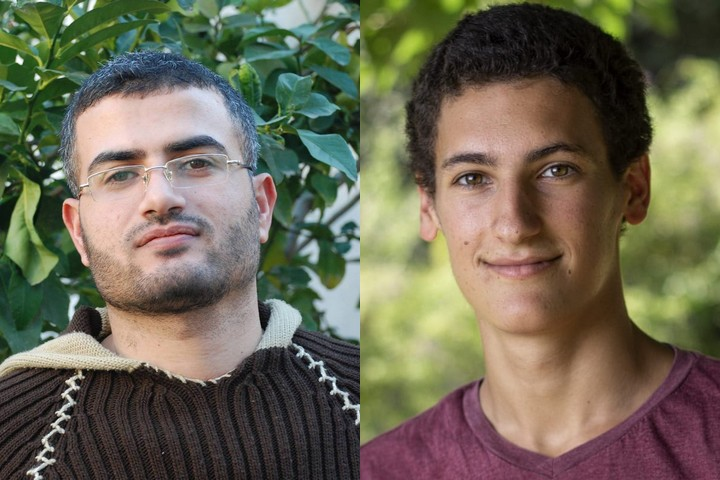Ahmed Abu Artema (L), one of the leaders of Gaza's Great Return March, and Israeli conscientious objector Hillel Garmi. (Abu Artema photo courtesy of Facebook, Garmi photo courtesy of Yoav Eshel)