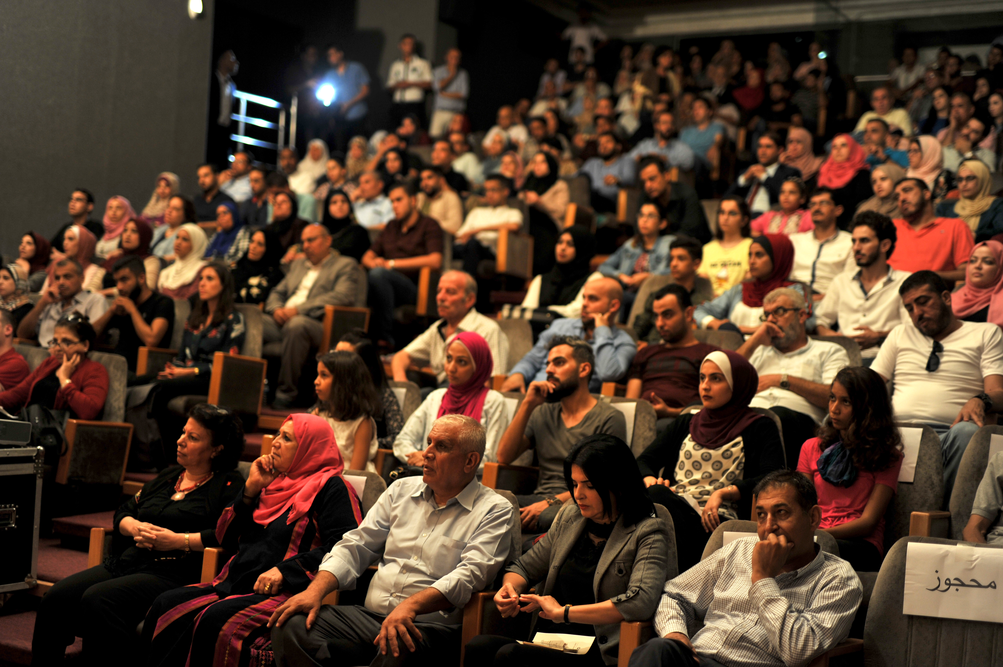 A full house at the premiere of Naila and the Uprising at the Red Crescent Cinema Hall in the Gaza Strip, September 2018. (Shareef Sarhan)