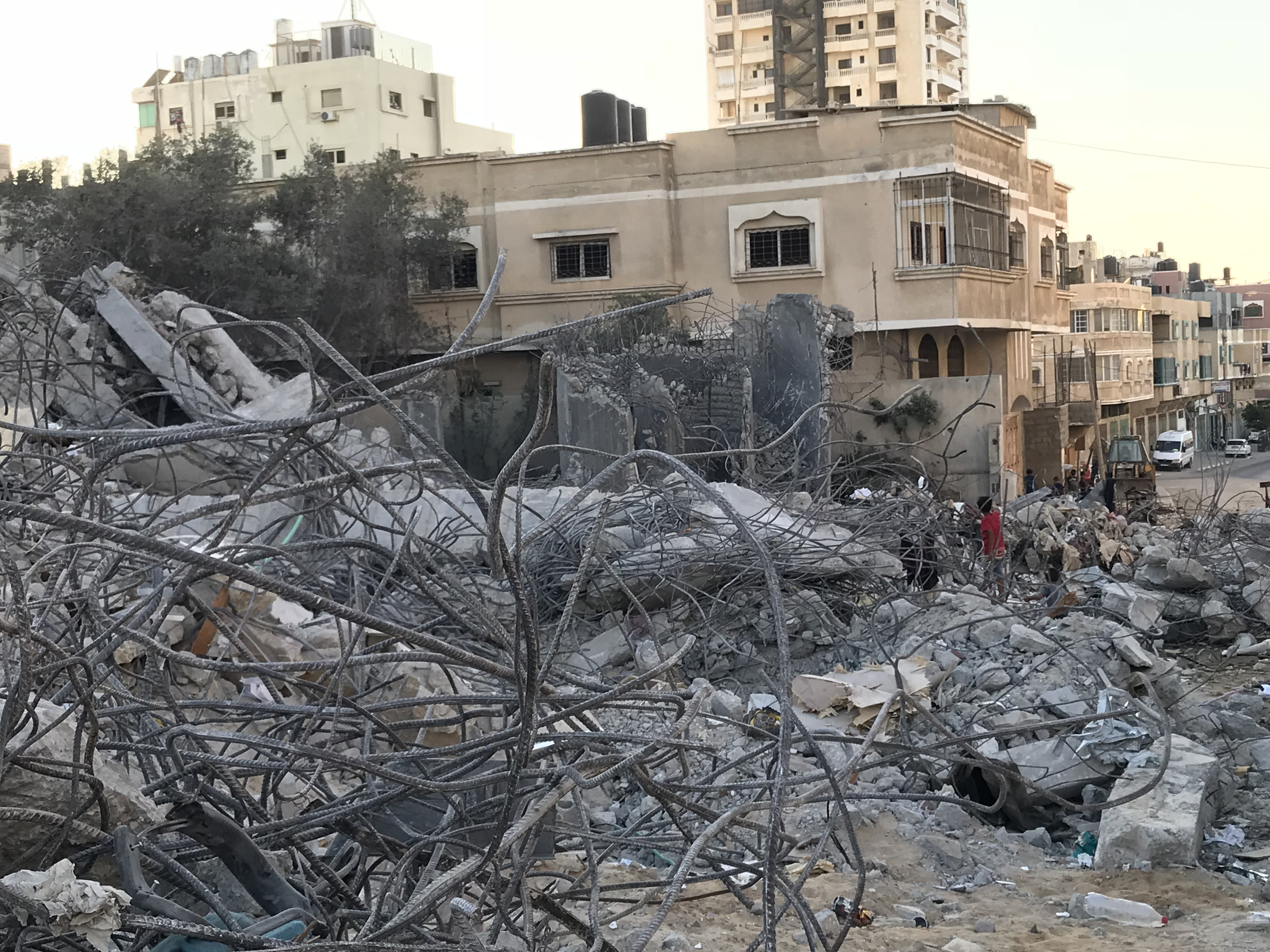 Children playing in the rubble of al-Meshal Cultural Center in the Gaza Strip. (Jen Marlowe)