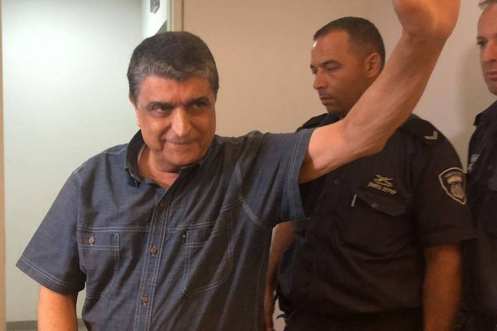 Former Secretary-General of Abnaa al-Balad Raja Eghbarieh seen in the Haifa Magistrates Court last week. (Courtesy of الحرية لرجا إغبارية Free Raja Eghbarieh)