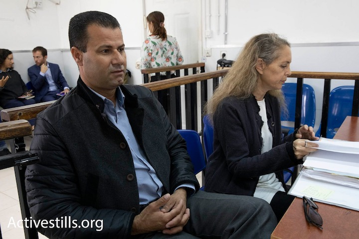 Abdullah Abu Rahme seen in Ofer Military Court, November 14, 2018. (Oren Ziv/Activestills.org)