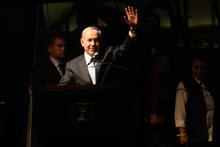 Prime Minister Benjamin Netanyahu delivers a speech at a right-wing rally in Tel Aviv on March 15, 2015, ahead of Israel''s March 17 elections. (Gili Yaari/Flash90)