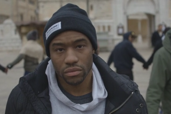 Marc Lamont Hill at a solidarity demonstration in Nazareth, Israel in 2014. (Screenshot from a Dream Defenders video by Thorstein Thielow)