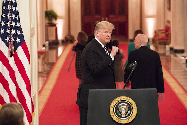 President Donald Trump gestures with a fist pump at the conclusion of the swearing-in ceremony for Supreme Court Associate Justice Brett M. Kavanaugh in the East Room of the White House in Washington, D.C. (Joyce N. Boghosian/White House)