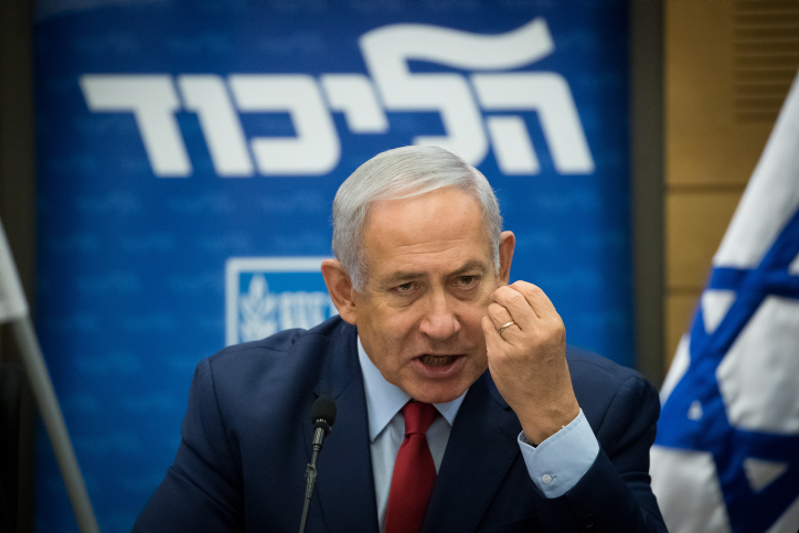 Prime Minister Benjamin Netanyahu leads a Likud faction meeting in the Knesset, December 24, 2018. (Yonatan Sindel/Flash90)