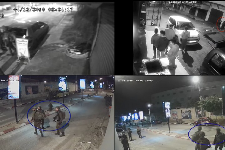 CCTV footage of Israeli soldiers shooting Muhammad Habali in the back of the head in the West Bank city of Tulkarm on Dec. 4, 2018. (Photo: Screenshot of footage released by B'Tselem)