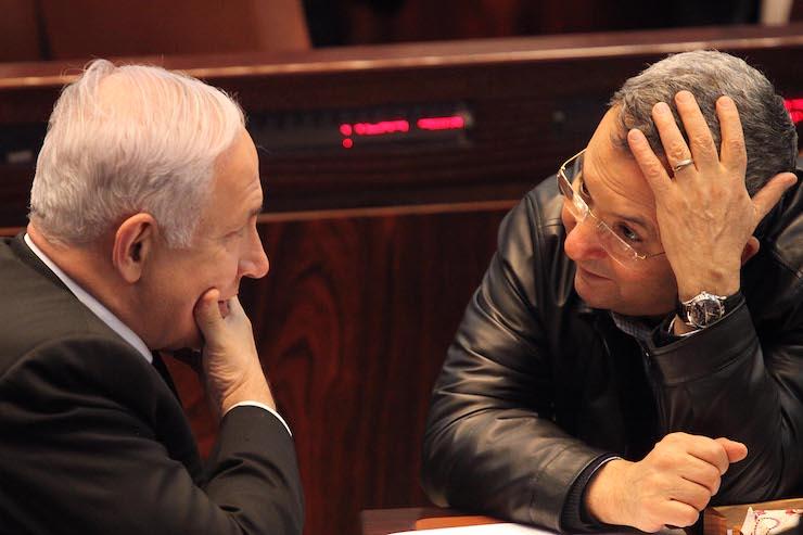 Israeli Prime Minister Netanyahu and Defense Minister Ehud Barak in the Knesset, Feb 21, 2011. (Abir Sultan/Flash 90)