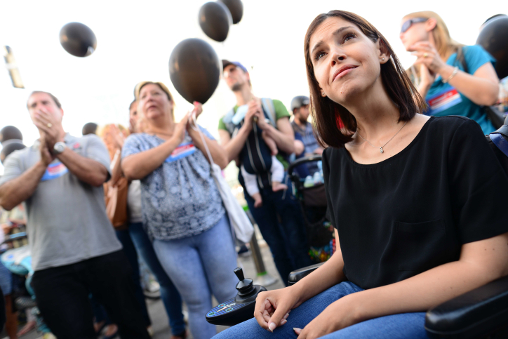 MK Karin Elharar attends a protest against the lack of supervision in daycares outside the Tel Aviv Government Complex on June 10, 2018. (Tomer Neuberg/Flash90)