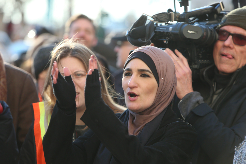 Linda Sarsour, who has been accused of anti-Semitism for her support of BDS and opposition to Zionism, is seen at a rally against Trump's immigration ban in New York City, January 29, 2017. (Shutterstock.com)