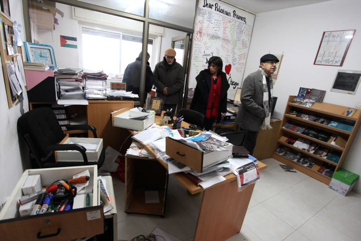 Palestinian employees at Addameer offices in the West Bank city of Ramallah, on December 11, 2012, after Israeli forces raided their office overnight. (Photo by Issam Rimawi/Flash90)