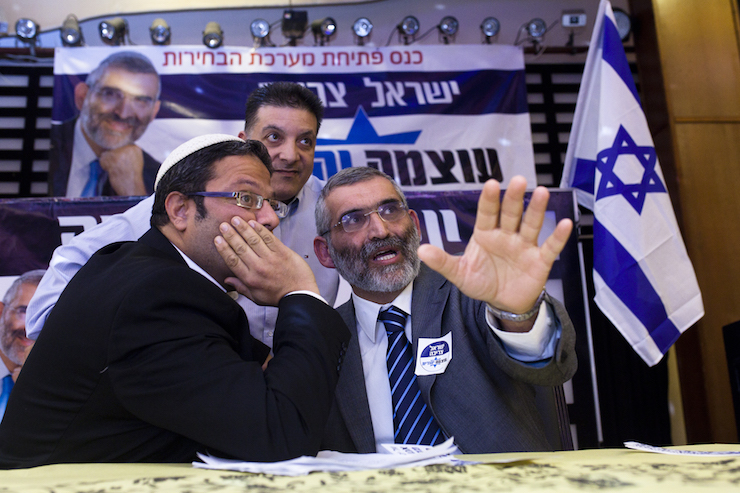 Former Knesset member and leader of the Otzma Yehudit party Michael Ben Ari (R) seen with Itamar Ben Gvir at the party's inaugural election conference in Petach Tikva, December 24, 2019. (Amir Levy/FLASH90)