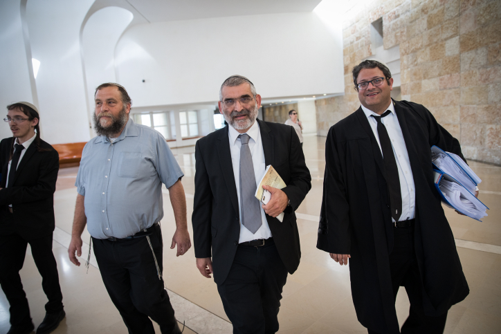 Members of the Kahanist Otzma Yehudit party Benzi Gopstein (left) Michael Ben Ari (center) and Attorney Itamar Ben Gvir (right) seen in Israeli Supreme Court in Jerusalem, March 12, 2018. (Hadas Parush/Flash90)
