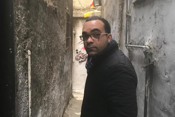 Ibrahim Jammal, one of Yaffa Cultural Center's central organizers, seen in the alleyways of Balata refugee camp in Nablus, West Bank.