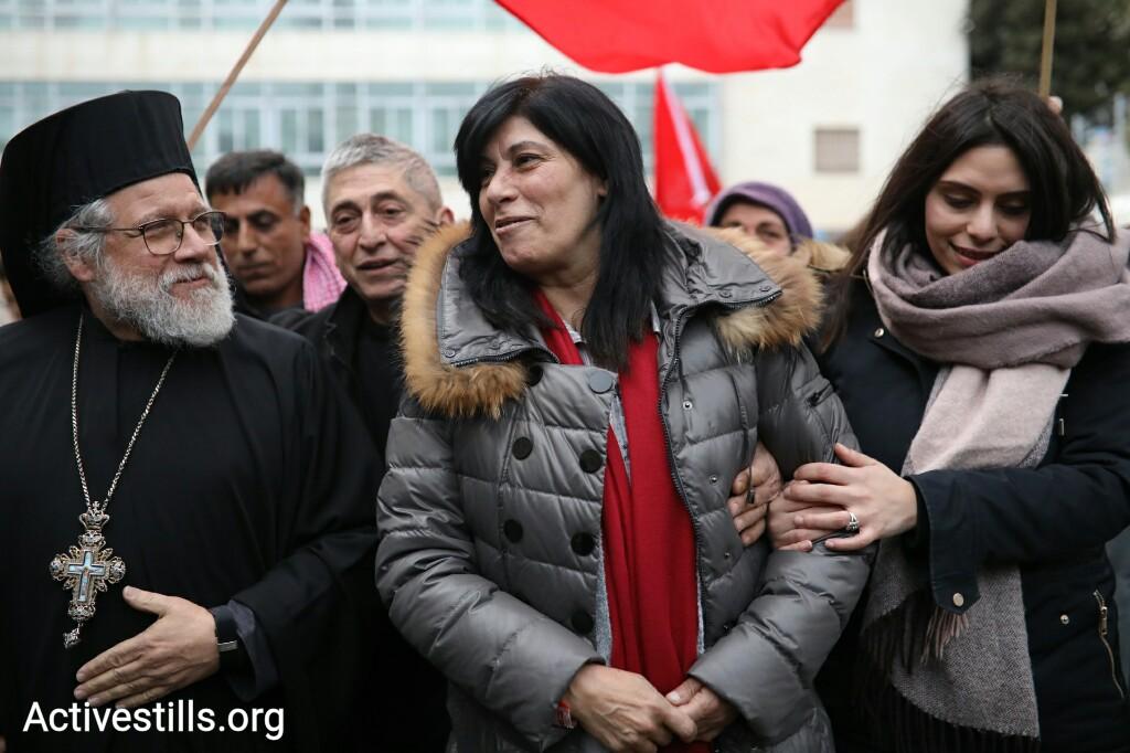 Palestinian lawmaker Khalida Jarrar seen following her release from 20 months of administrative detention, Ramallah, West Bank, February 28, 2018. (Oren Ziv/Activestills.org)