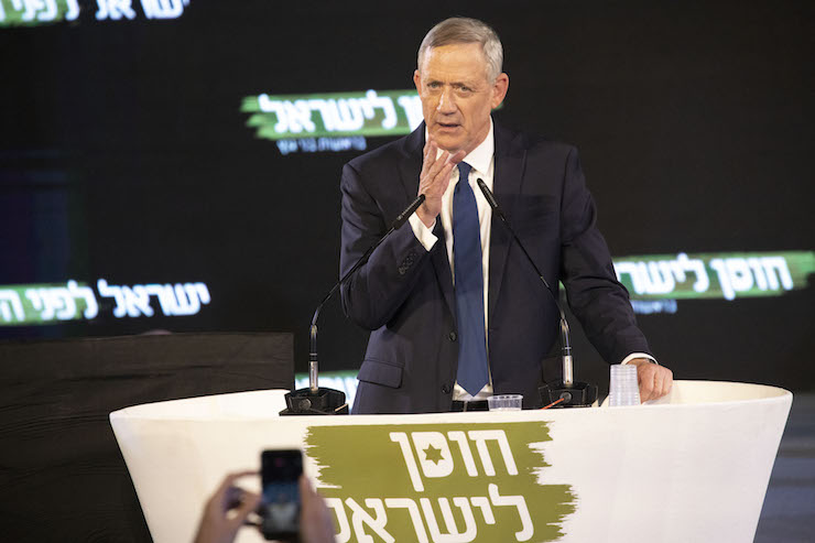 Former IDF Chief of Staff Benny Gantz speaks during the official campaign launch event for his Israel Resilience Party, Tel Aviv, January 30, 2019. (Oren Ziv/Activestills.org)