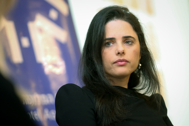 Justice Minister Ayelet Shaked, of the New Right party, wants to give the Knesset a veto over Supreme Court decisions, March 12, 2019. (Flash90)