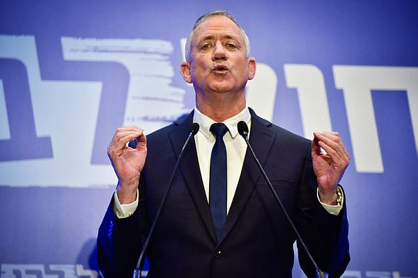 Netanyahu rival Benny Gantz delivers a statement to the media in Tel Aviv, February 28, 2019. (Flash90)
