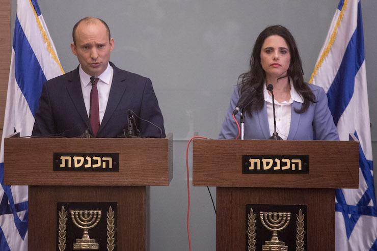 New Right leaders Naftali Bennett and Ayelet Shaked, November 19, 2018. (Miriam Alster/Flash90)