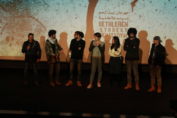 Palestinian students seen onstage at the first ever Bethlehem Student Film Festival. (Bethlehem Student Film Festival)