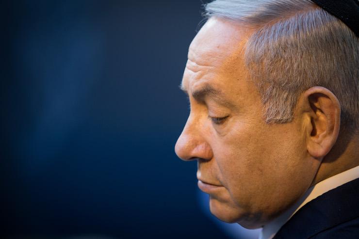Israeli Prime Minister Benjamin Netanyahu attends a memorial ceremony for Golda Meir at Mount Herzl cemetery, Jerusalem, November 18, 2018. (Noam Revkin Fentonl/Flash90)