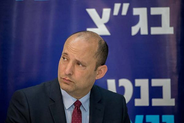 """Naftali Bennett attends a press conference announcing the launch of the new campaign """"New South"""" of the New Right Political party, in Ashdod on March 26, 2019. (Yonatan Sindel/Flash90)"""