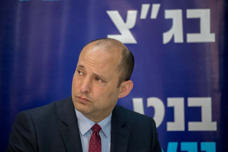 "Naftali Bennett attends a press conference announcing the launch of the new campaign ""New South"" of the New Right Political party, in Ashdod on March 26, 2019. (Yonatan Sindel/Flash90)"