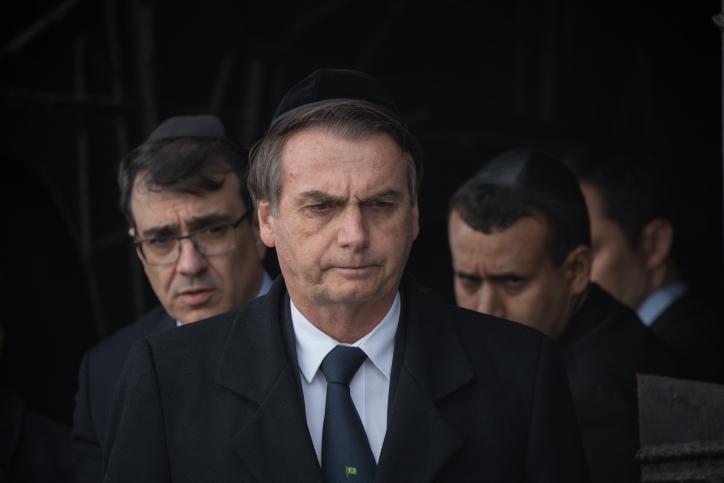 Brazilian President Jair Bolsonaro during a visit to Yad Vashem, Jerusalem, April 2, 2019. (Noam Revkin Fenton/Flash90)