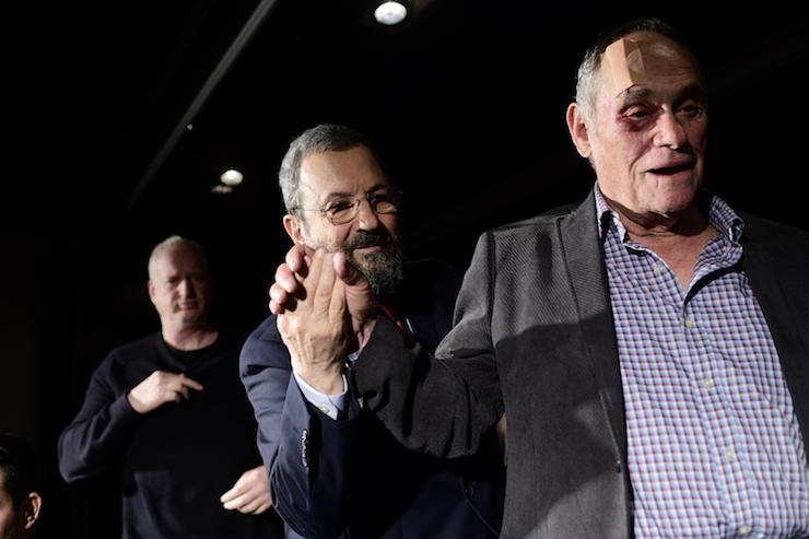 Former Defense Minsiter Ehud Barak (center), April 3, 2019. As prime minister, Barak was an unmitigated disaster. (Tomer Neuberg/Flash90)