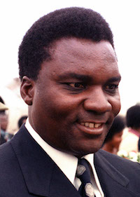 President Juvénal Habyarimana seen during a visit to Andrews Air Force Base in Maryland. His assassination set off what would become the Rwandan Genocide.
