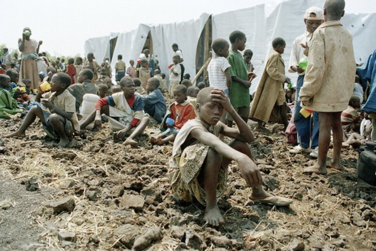 Rwandan children at a refugee camp in Goma, Democratic Republic of Congo, during the Rwandan Genocide. (UNAMIR)
