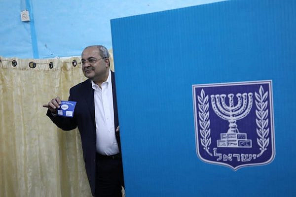 Arab MK Ahmad Tibi votes in the 2019 election, Taybe, northern Israel, April 9. (Oren Ziv/Activestills.org)