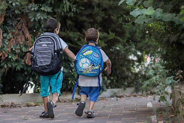 Illustrative photo of Israeli children preparing for the first day of kindergarten in Jerusalem. (Yonatan Sindel/Flash90)