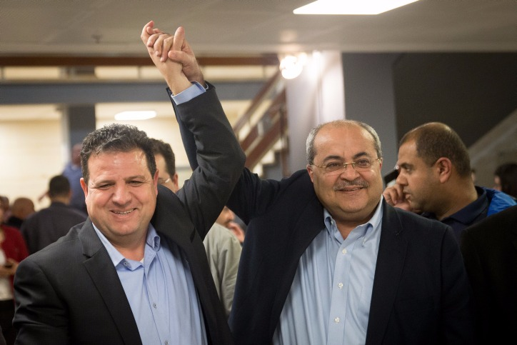 Palestinian Knesset members Ayman Odeh and Ahmad Tibi, February 21, 2019. (Yonatan Sindel/Flash90)