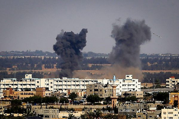 Smoke rises following an Israeli air strike in Rafah in the southern Gaza Strip on May 4, 2019. (Abed Rahim Khatib/Flash90)