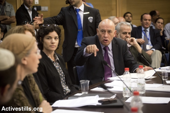 Meretz Chairwoman Tamar Zandberg and Meretz MK Issawi Freij take part in a hearing in the Knesset Internal Affairs and Environment Committee, November 6, 2013. (Oren Ziv/Activestills.org)