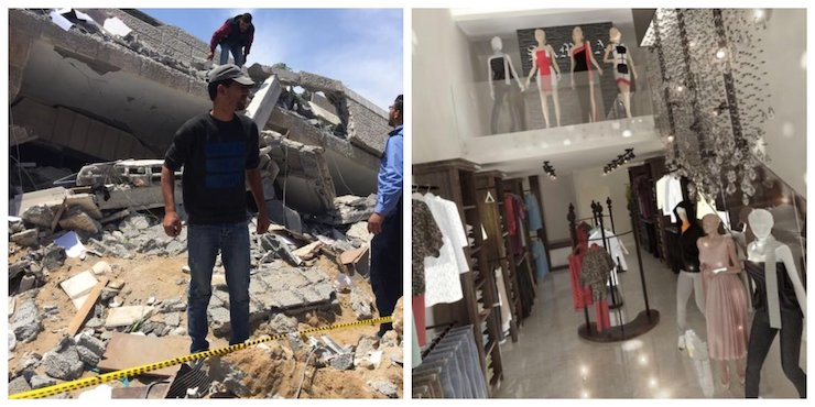 """The Samra Fashion store,before and after it was bombed by Israel. """"Everything I had is gone and I can't get it back. I don't know what to do,"""" owner Mahmood Said Al Nakhaleh told Gisha."""