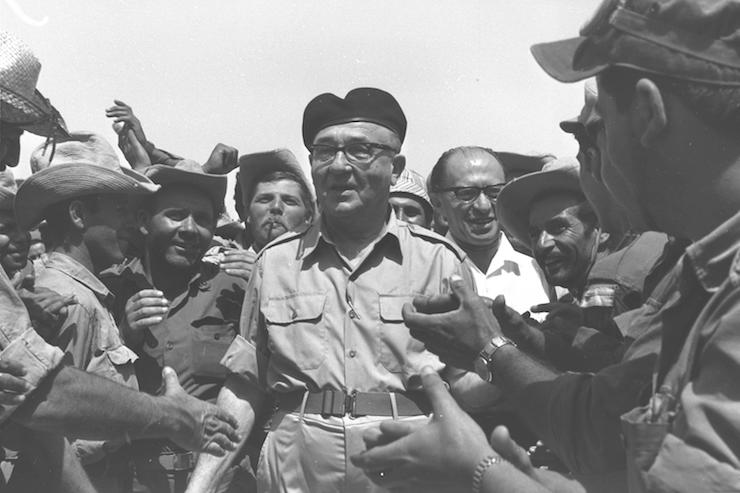 Prime Minister Levi Eshkol seen visiting an IDF reserves unit at Jebel Livni in the Sinai Peninsula, just days after Israel captured it from the Egyptians during the Six-Day War, June 14, 1967. (GPO)