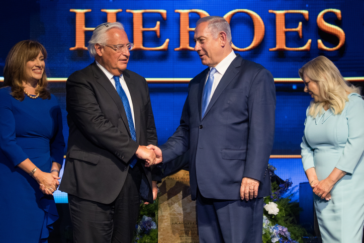 U.S. Ambassador to Israel David Friedman and Prime Minister Benjamin Netanyahu at an event marking one year since the transfer of the U.S. Embassy from Tel Aviv to Jerusalem, May 14, 2019. (Yonatan Sindel/Flash90)